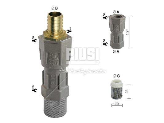 Донный фильтр очистки дизельного топлива PIUSI Foot valve Ø 20 mm арт. F00612000